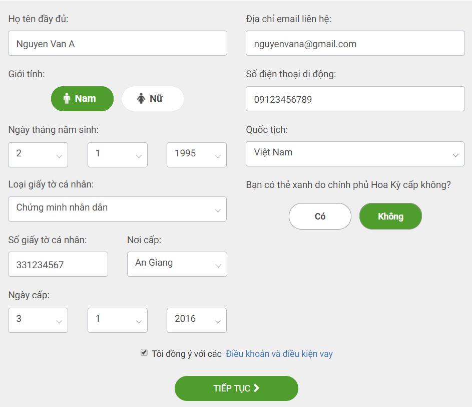 Điền thông tin cá nhân trên giao diện vay tiền VPbank